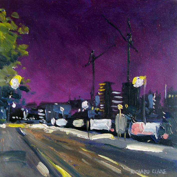 Cranes and Billboards at Night
