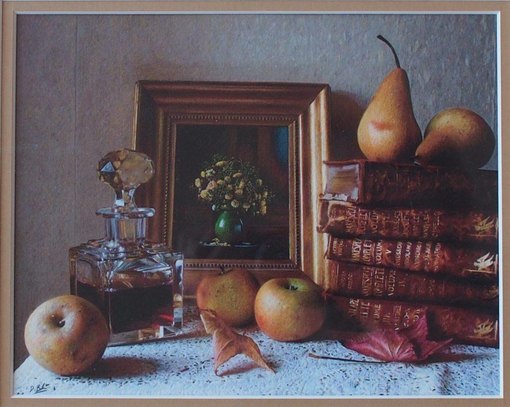 Darren Baker.  Still Life with Fruit & Books