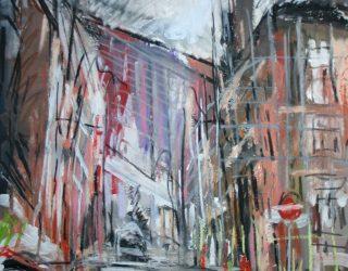 Matthew Thompson. Street Scene with Scaffolding