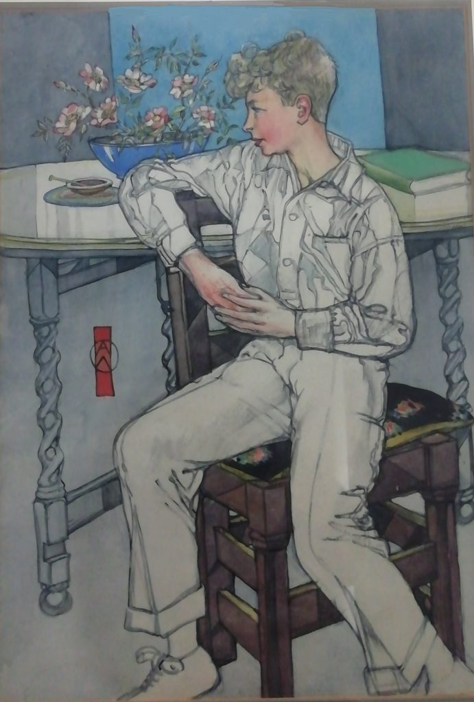 Boy Seated with Bunch of Roses